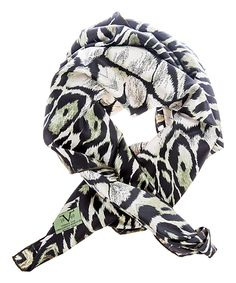 Versace 19V69 Green Leopard Scarf | zulily -  $34.99 $140.00  Product Description:  Colorful leopard patterning exudes sumptuous allure while the lightweight fabric lends season-spanning style. The versatile length allows it to be worn in various ways from a head scarf to a basic loop.      35.4'' x 35.4''     100% polyester     Machine wash     Imported