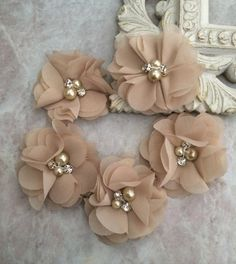 Chiffon flowers pearl and rhinestone flowers by BlingBasement / use for headbands, crafts, etc. ~ comes in other colours