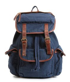 BUG Genuine Leather Trim Multi-function Unisex School Canvas Backpack Travel Bags for women men kids (Marine Blue) * To view further for this item, visit the image link.
