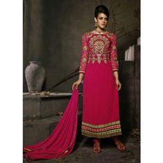 Magenta Georgette #Indian #Churidar Kameez With Dupatta #Salwar #Anarkali #Dress #Clothing