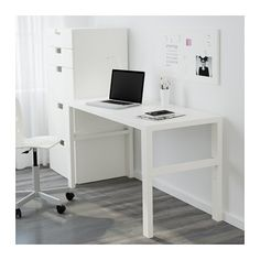 "IKEA - PÅHL, Desk, white, , This desk is designed to grow with your child, thanks to the three different heights.The desk is easily adjusted to 23¼"", 25⅞"" or 28⅜"" by using the knobs on the legs.You can keep cables and extension cords organized by placing them in the cable holders between the front and back legs."