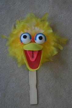 Elmo paper bag puppet paper bag wiggle eyes orange pom for Elmo arts and crafts