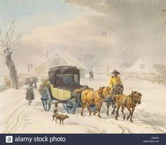 Winter, Painting, Art, Horse Drawn Wagon, Winter Time, Art Background, Painting Art, Kunst, Paintings