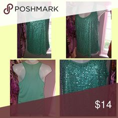 Spring sequin blouse! Fab mint blue sequin top is perfect for spring into the summer season!  Size: Large  By: Mossimo Mossimo Supply Co. Tops