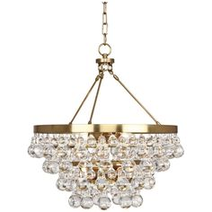 Robert Abbey Bling Convertible Double Canopy Antique Brass Chandelier