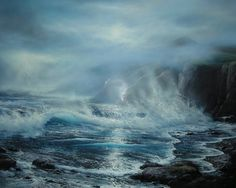 Azure Ocean 1988 by Raymond Page, Original Painting, Oil on Canvas