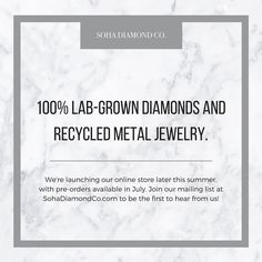The time has come for me to announce to you my wonderful Insta-community that my husband and I are launching @sohadiamondco an engagement ring and fine jewelry ecommerce store featuring only 100% lab-grown diamonds and recycled precious metals!  Products will be available for purchase later this summer but please follow us if you'd like to learn more about lab-grown diamonds and be the first to know when we're open for business! Oh and if you're local to Madison we'd LOVE to meet with you to…
