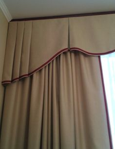 Lovely valance and drapery with trimmed edge. Valance Window Treatments, Custom Window Treatments, Window Coverings, Cornices, Valances, Hanging Curtains, Curtains With Blinds, Drapes Curtains, Burlap Curtains