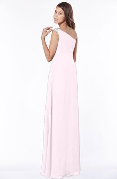 Blush Glamorous A-line Short Sleeve Zip up Chiffon Floor Length Bridesmaid Dresses