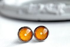 pretty orange slice print earrings