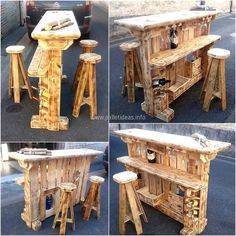 We are going to start showing the ideas with an amazing idea for create reclaimed wood pallet bar, which will look perfect when placed in a corner inside the home or outside in the lawn. There are spaces to fix the wine bottles as well as there is ample space to enjoy the drink with snack on its surface.