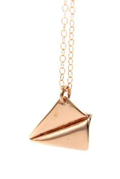 Rose Gold Paper Airplane necklace