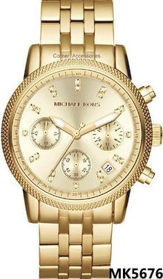 264fee8468ddd Shop Mid-Size Golden Stainless Steel Ritz Chronograph Glitz Watch from Michael  Kors at Neiman Marcus Last Call, where you ll save as much as on designer  ...