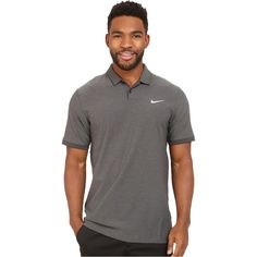 Nike Golf Mobility Woven Polo (Black/Heather/Anthracite/Wolf Grey)... ($56) ❤ liked on Polyvore featuring men's fashion, men's clothing, men's shirts, men's polos, grey, mens moisture wicking polo shirts, mens grey shirt, mens mesh shirt, mens short sleeve shirts and mens short sleeve woven shirts