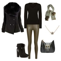 FW - D - LEATHER LEGGINGS, SWEATER, SCARF, JACKET, ANKLE BOOTS - BLACK & OLIVE