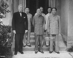 US Ambassador Patrick Hurley, Gen Chiang Kai-Shek, & Communist leader Mao Tse Tung; (back L, Chiang Ching-Kuo, the son of General Chiang) during ill-fated US attempt to negotiate between Communist and Nationalist Chinese forces.