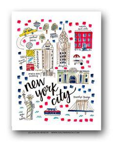 New York Map Print by Evelyn Henson, 8x10, $26.50