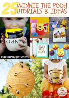 25 Winnie the Pooh ideas with recipes, projects, tutorials, and printables for the sweetest birthday party this side of the wood. Winnie The Pooh Themes, Winne The Pooh, Winnie The Pooh Birthday, Bear Birthday, Disney Birthday, Baby First Birthday, Birthday Fun, First Birthday Parties, First Birthdays