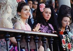 Jacqueline Kennedy, her hostess the Duchess of Alba, and the Countess of Romanones attend a bullfight in Seville, 1966.