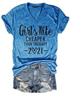 Bestdealfriday Girl's Nite Cheaper Than Therapy Women's T-Shirt, Blue-S