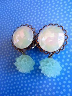 Opal Plugs with Seafoam Dahlia Flower Danglies - Handmade Girly Gauges by WhimsyByKrista on Etsy, $25.00