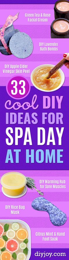 DIY Spa Day Ideas - Luxurious DIY Spa Night at Home - Easy Sugar Scrubs, Lotions and Bath Ideas for The Best Pampering You Can Do At Home - Lavender Projects, Relaxing Baths and Bath Bombs, Tub Soaks and Facials - Step by Step Tutorials for Luxury Bath Pr Diy Spa Day, Spa Day At Home, Diy Rice Bags, Spa Tag, Apple Cider Vinegar For Skin, Lavender Sugar Scrub, Spa Night, Facial Cream, Wellness