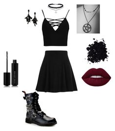 """Simple gothic outfit"" by castiel-fan ❤ liked on Polyvore featuring River Island, Demonia, Boohoo, Oscar de la Renta and Marc Jacobs"