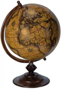 Antique yellow world map globe sculpture desk ornament furniture large brown world map globe sculpture ornament gumiabroncs Gallery