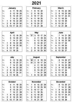Printable 2021 Calendar Excel | Excel calendar, 2021 ...