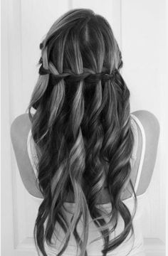 Curls and waterfall braid;  So pretty! Going to try this so very soon!