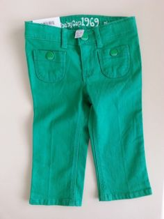 BABY GAP 1969 Playdate Straight Infant Girls GREEN Denim Jeans Size 12-18 m NWT #babyGap #Jeans #Everyday