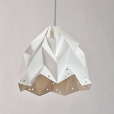 WAVE paper origami lampshade white by Lightplaystudio on Etsy