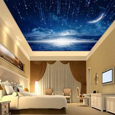 Simple and Modern Tips: False Ceiling Design For Balcony false ceiling bedroom tvs.False Ceiling Modern For Kids false ceiling bedroom crown moldings. Bedroom Wallpaper Themes, Dining Room Wallpaper, Wallpaper Ceiling, Sky Ceiling, Ceiling Murals, Bedroom Ceiling, Wall Murals, Ceiling Ideas, Ceiling Lights