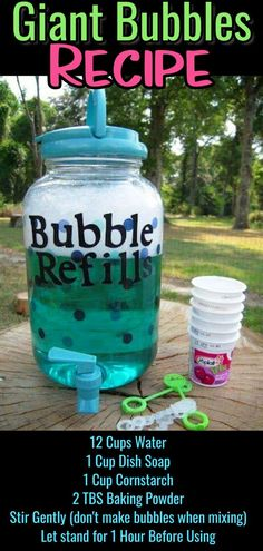 Summer Games, Crafts and Activities for Kids - Clever DIY Id.-Summer Games, Crafts and Activities for Kids – Clever DIY Ideas DIY bubbles mix refill recipe – how to make giant super bubbles mixture - Summer Fun For Kids, Summer Activities For Kids, Toddler Activities, Diy For Kids, Cool Kids, Kids Fun, Outside Activities For Kids, Outdoor Fun For Kids, Things For Kids