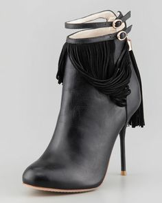 Kendall+Leather+Fringe+Bootie+by+Sophia+Webster+at+Neiman+Marcus.