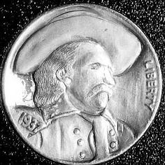 JON DAKE - GENERAL GEORGE CUSTER - 1937p BUFFALO PROFILE George Custer, Hobo Nickel, Coin Art, American Civil War, Buffalo, Coins, Auction, Carving, Profile