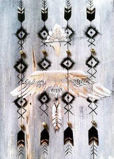Graphic - Boho  - Totem - Hippies Wood - design - art   Tableau en Bois réalisé pour une Bloggeuse  signé Mahieilla