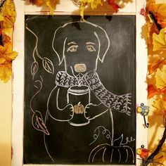 Happy first full day of fall! #firstdayofautumn #happyfallyaall #pumpkinspice #chalkboard  .  .  .  #autumn #labador #labsofinstagram #pumpkinspicelatte #coffee #chalkboardart #drawing #findmeoutside #firstdayoffall #autumnart #falldrawing
