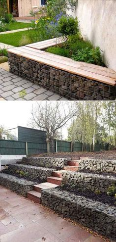 20 Inspiring Tips for Building a DIY Retaining Wall Retaining walls retain soil behind them and also add more space to your property by turning a sloped area of your garden into more useable, level land. A garden or yard retaining wall might be. Gabion Retaining Wall, Building A Retaining Wall, Landscaping Retaining Walls, Backyard Landscaping, Garden Retaining Walls, Landscaping Edging, Yard Edging, Landscaping Around Pool, Brick Garden Edging