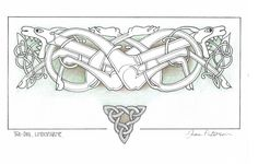 I used to love creating celtic knotwork. and enjoyed the delicate colouring of this picture. Celtic Patterns, Celtic Designs, Viking Knotwork, Celtic Wolf Tattoo, Vikings, Viking Pattern, Leather Tooling Patterns, Circle Art, Asatru