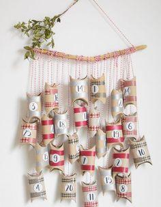 An easy to make Advent calendar . # to # calendar # of . Homemade Advent Calendars, Diy Advent Calendar, Easy Christmas Crafts, Handmade Christmas, Christmas Decorations, Christmas Tables, Nordic Christmas, Modern Christmas, Christmas Christmas