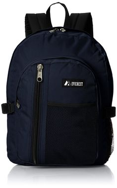 Everest Backpack with Front Mesh Pocket Navy One Size * For more information, visit image link. Kids Backpacks, North Face Backpack, Mesh, Pocket, Navy, Amazon, Image Link, Stuff To Buy, Shoes