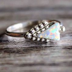 ZUNI || White Opal Arrowhead Ring || Available in our 'Navajo' Collection at www.indieandharper.com