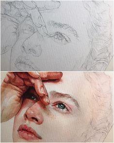 New Art Sketches Watercolor Portraits, Watercolor Art, Art Sketches, Art Drawings, Pencil Drawings, Photographie Portrait Inspiration, Creation Art, Arte Sketchbook, Pretty Art