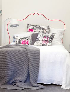 Silhouette headboard provides with a sense of detail while requiring no actual detail. The best part of such headboard alternative is that you can have (paint) a headboard of your dream.