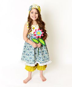 Look what I found on #zulily! Lime & Blue Floral A-Line Dress & Ruffle Pants - Toddler & Girls #zulilyfinds
