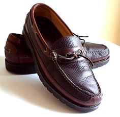 02416c99d52a41 CLEARANCE LL BEAN 12 D Men s Boat Shoes Loafers Decl Full Grain Leather 2  Tone Brown Refurbished Shoes Highest Quality Excellent Condition