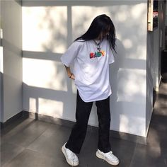 Apr 2020 - Source of zayanyaz T-Shirts Tomboy Outfits Baby Oversize shirt soldrelax Source Tshirts white zayanyaz Indie Outfits, Edgy Outfits, Retro Outfits, Cute Casual Outfits, Vintage Outfits, Fashion Outfits, Fashion Tips, Converse Outfits, Disney Outfits