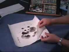 This clip shows how to mount the painting on napkin with silicone release paper. To get the silicone mounting paper or mulberry rice paper please visit http:. Watercolor Tutorials, Painting Tutorials, Watercolour, Watercolor Paintings, Panda Painting, Panda Party, Art Camp, Chinese Painting, Rice Paper