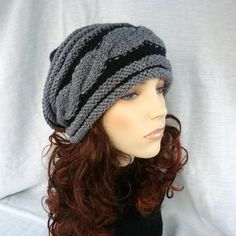 Slouchy hat with cable stitches/unisex in black by NingNingGong